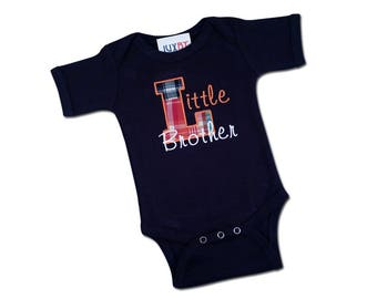 Baby Boy 'Little Brother' Plaid Bodysuit with Embroidered Name - M2