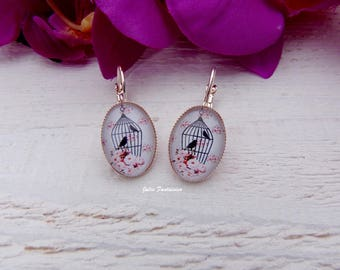 """""""Birds in cage"""" earrings - oval Cabochon 15 x 20 mm"""