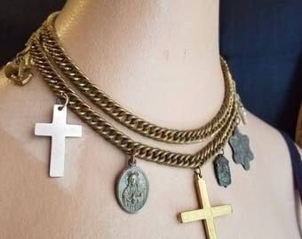Reporposed Vintage 1940's Brass Chunky Chain Necklace with Religious Charms and Crosses
