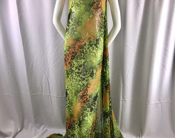 """Green tie dyed chiffon 58"""" wide-multi color floral print-sheer chiffon-apparel-fashion-dresses-nightgown-decorations-scarfs-sold by the yard"""