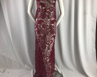 Burgundy flower guipure-chemical lace-apparel-fashion-decorations-dresses-nightgown-sold by the yard.