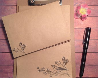 writing set, stationery set, hand stamped writing set, rustic writing set complete with clipboard, stationary set