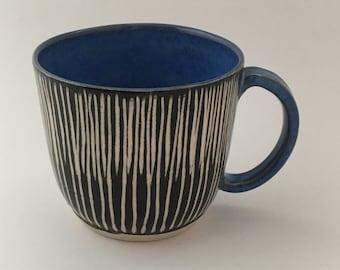 Blue mug, mug with stripes, coffee mug, tea cup, pottery mug, sgraffito mug, carved mug, coffee lover, handmade mug, DL18139