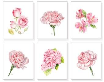 Pink Flower Prints Set Pink Floral Print Set Flower Watercolor Flower Painting Floral Painting Flower Wall Art Pink Flower Art Print Set 6.