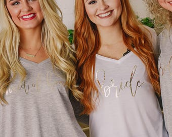Bridesmaid Shirts Long Sleeve ~ Bridal Party Shirts ~ Bachelorette Party Shirts ~ Flowy Bride and Bridesmaid Shirts (B26) BR047