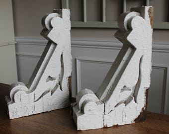 Antique Architectural Salvage Wooden Corbels Pair Chippy White Set of 2