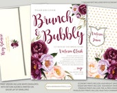 Burgundy Floral Bruch and Bubbly Invitation / Bridal Shower / Watercolor / Purple / Pink / Flowers / Wine / Gold Foil / FLORENCE COLLECTION