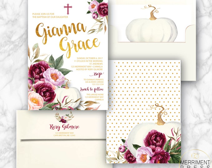 Fall Baptism Invitation // Pumpkin Baptism // Floral // Burgundy // Roses // Gold // Blush // Watercolor // CARMEL COLLECTION