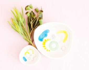 Juliet shapes dish - two sizes - colourful wiggles curves and shapes ceramic plate