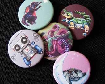 """Pin back buttons round 1.75"""" cute fun animal or robot art, backpack pin, party favors, gift"""
