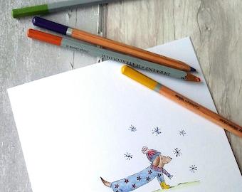 Christmas sausage dog, Dachshund card, Sausage dog card, Sausage dog drawing, doggy card, dog Christmas card, Sausage dog Christmas