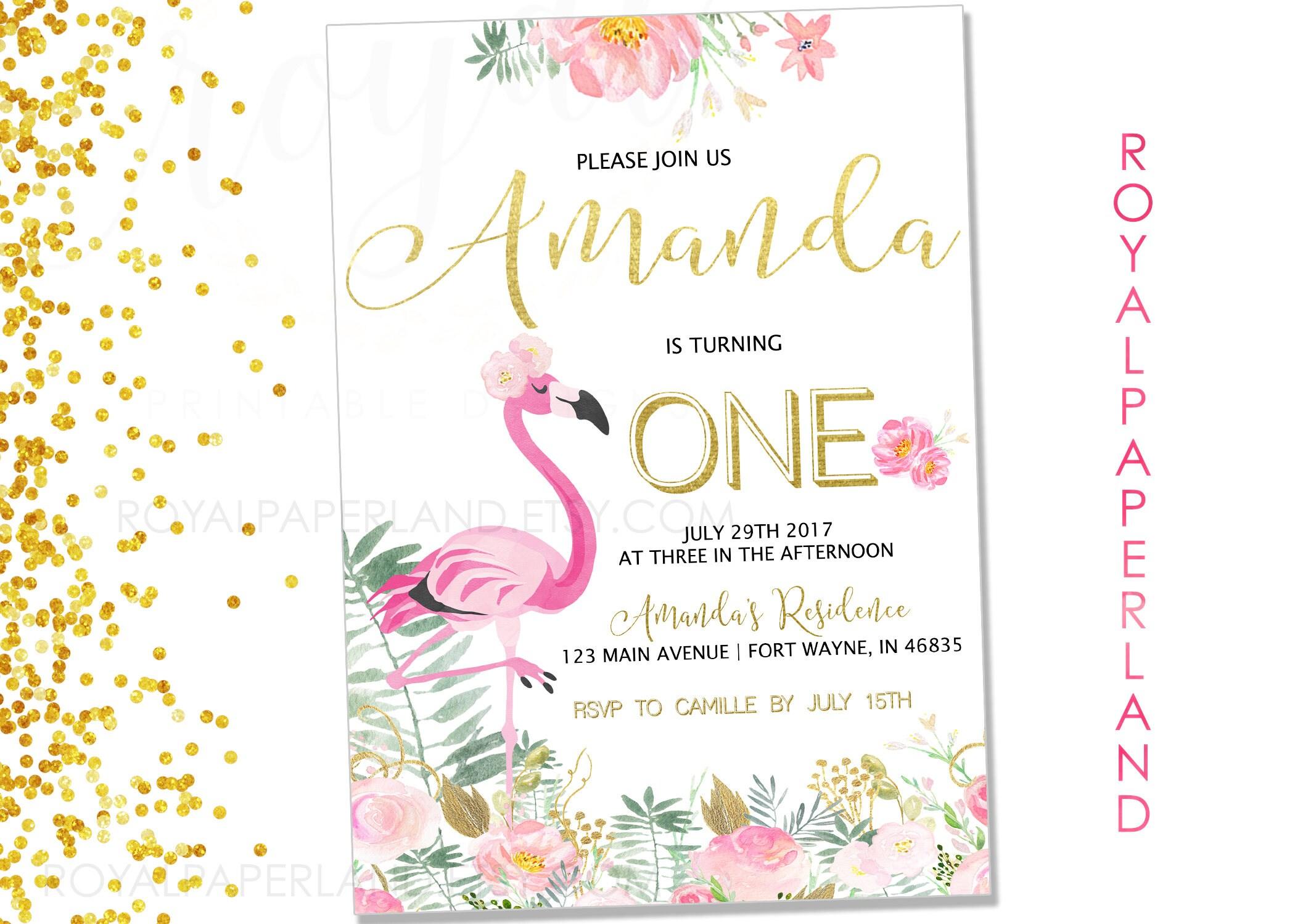 Flamingo Geburtstag Party Einladung Ananas