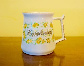 Happy Birthday; Shabby Chic; Coffee Mug; 1979; Approx. 3 x 4 in.