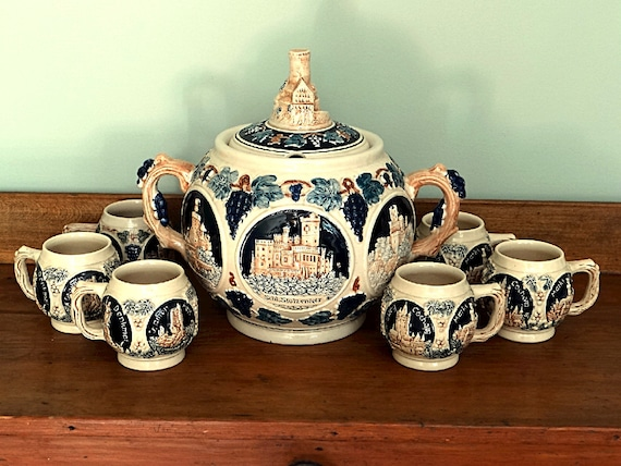 German Gluhwein Pot for Mulled Wine and 6 Stoneware Mugs