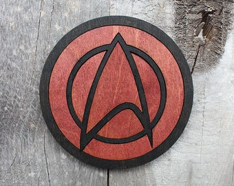 Star Trek Command Red Wood Coaster | Rustic/Vintage | Hand Stained and Glued | Comic Book Gift |