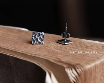 925 sterling silver black hammered square ear stud earrings 1 pair geometry