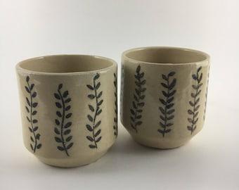 Elegant ceramic wine or tea glasses