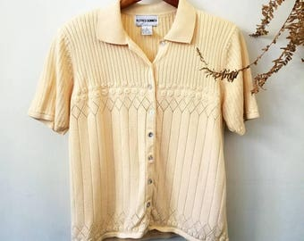 Vintage Knitted Cream Embroidered Top