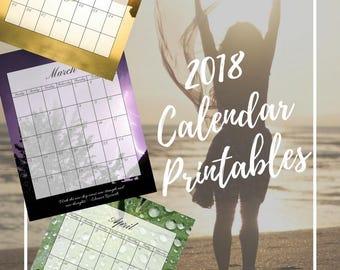 2018 Monthly Calendar Set - 3 Complete Sets (Printable) - Instant Download