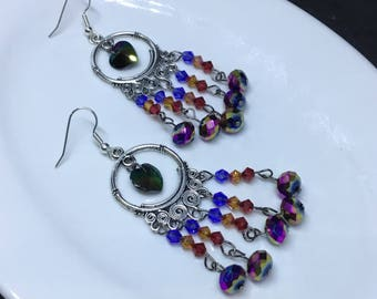 Rainbow Chandelier | Dreamcatcher Earrings made with Swarovski Crystals, Nickel & Lead free / silver plated stainless steel earring findings