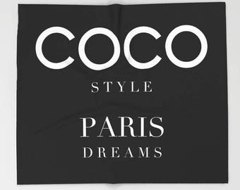 Coco Velveteen Blanket, Black and White Throw Blanket 50x60 60x80 0r 90x90, Fashion Decor, Dorm Bedding, Gifts for Her, Gifts for Women