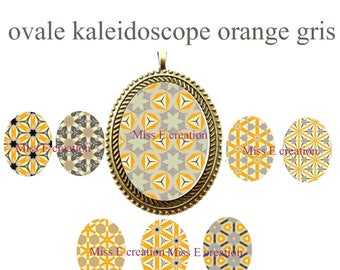 Orange and gray Kaleidoscope print of digital images for cabochon oval