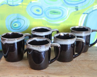 Retro Vintage 1970's Brown glazed ceramic mugs-  Fat lava style glaze