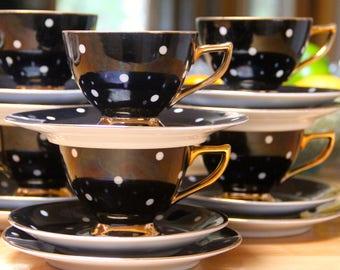 Beautiful Vintage 1960's  China Black and White Polka-Dot Tea Cup Trio  set