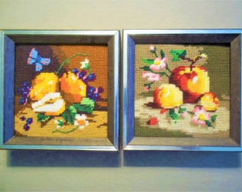 Two 1970's Needlepoints - Pears and Apples - Sunset Designs