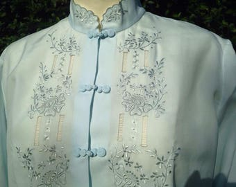 Vintage Mandarin Collar Chinese Blouse. Oriental, Pale Blue, Silky.