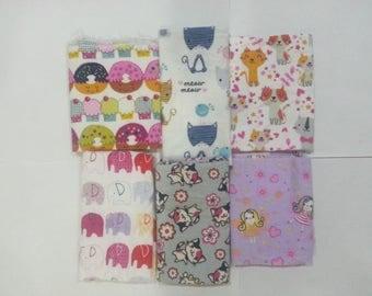 Girls Cotton Flannel Fabric Scraps/ Girls Cotton Flannel Fabric Remnants (#04)