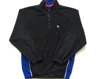 Vintage FILA pullover fleece sweater half zip polyester sweatshirt size small black red blue white 90s colour block