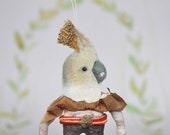 Nostalgic Spun Cotton Ornament Cockatoo with hat