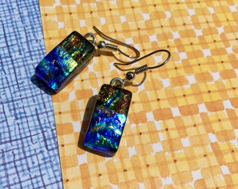 Fused Glass Earrings in Summer Colors