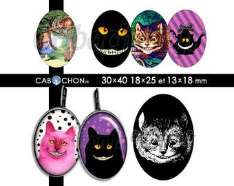 The Cheshire Cat • 45 Images Digitales OVALES 30x40 18x25 13x18 mm page cabochon bijoux alice wonderland chat cheshire mad here chapelier