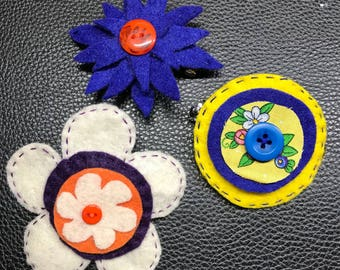 3 Pcs  Handmade Barrettes from Felt, Buttons and Cotton Fabric - Hair Accessory