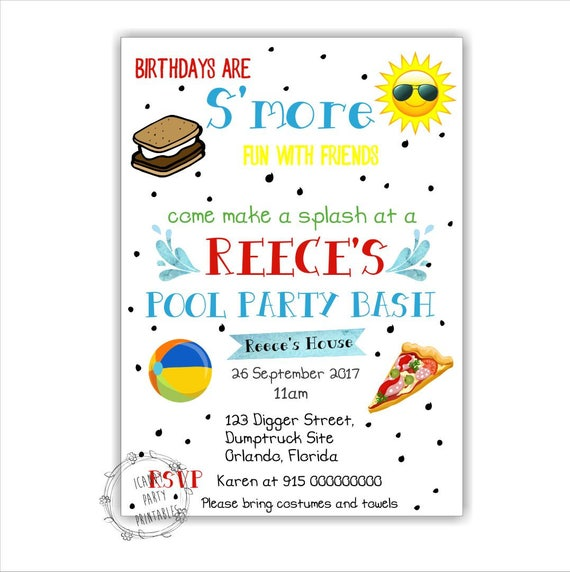 pool party invitation summer party invitation pool party swimming