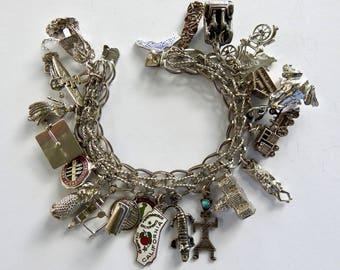 Heavy Lang Sterling Charm Bracelet Loaded