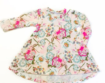 Size 0-3 month Garden Floral Twirl Dress READY TO SHIP with high low hem for baby and toddler girls sizes newborn to 5/6T