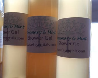 Shower Gel ROSEMARY & MINT All Natural Chemical free, Mild, Sensitive Skin, hypoalergenic