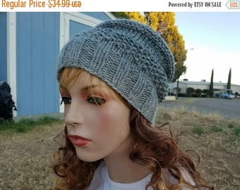 15% OFF SALE Handknitted slouchy hat, Ready to ship, Knitted hat, Knitted beanie, Winter hat, Grey hat, Knitted women's hat