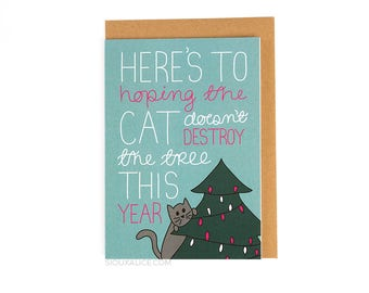 Christmas card, funny christmas card boyfriend girlfriend wife husband card, cat card santa xmas holiday card for him for her love card