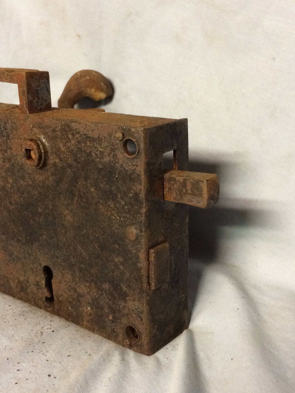 Antique Forged Iron Pennsylvania German Door Lock Elbow