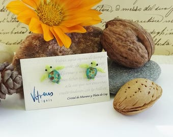 Turtles, Earrings made with Murano Glass and Sterling Silver