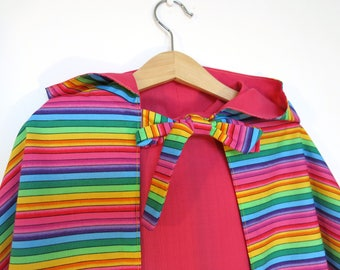Rainbow Stripy reversible Pink Play Cape