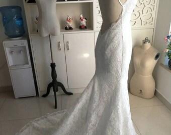Backless Lace Spaghetti Strap Wedding Dress