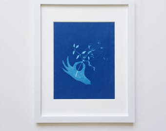 Pick a Flower, Sweet Jasmine - cyanotype 8x10