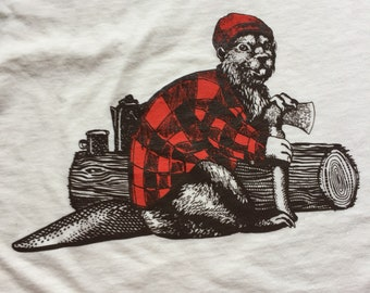 Handprinted Hipster Beaver Bamboo Organic Cotton Tee