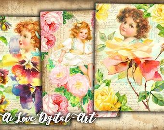 Digital download card making Flower Girls, digital collage sheet vintage ephemera, instant download gift tags printable images, scrapbooking