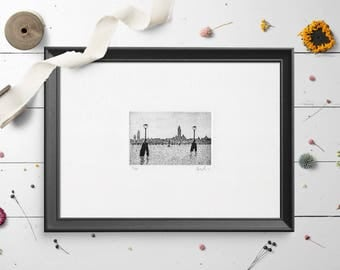 Etching - Venice skyline